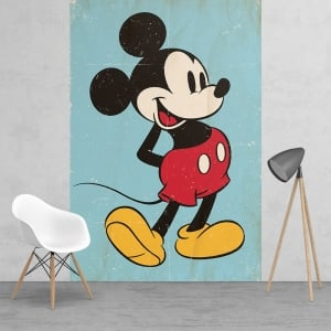 Disney Mickey Mouse Classic Vintage Style Feature Wall Wallpaper Mural | 158cm x 232cm
