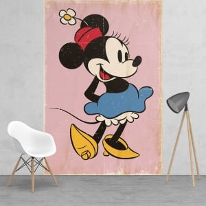 Disney Minnie Mouse Classic Vinatge Style Feature Wall Wallpaper Mural | 158cm x 232cm