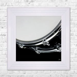 DRUM Print Framed Artwork | 55cm x 55cm Black and White