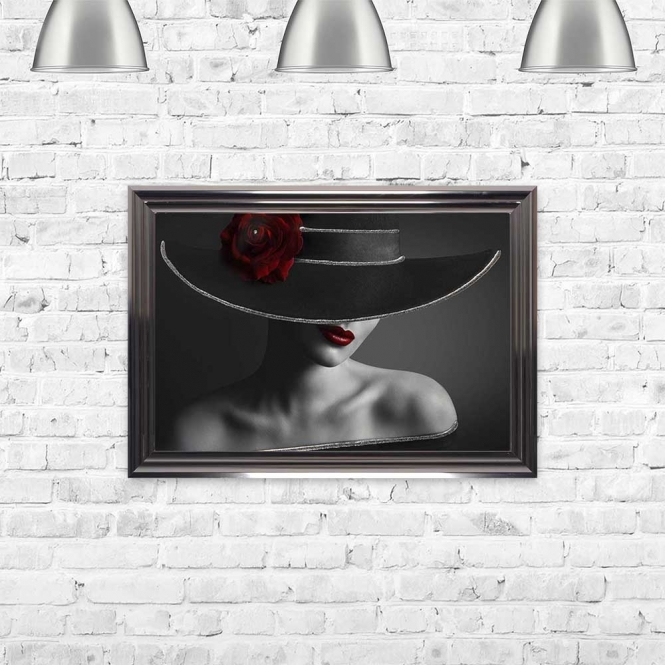 ELEGANT WOMAN WITH A SINGLE RED ROSE ON HER HAT FRAMED WALL ART