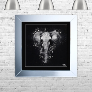 ELEPHANT Framed Liquid Artwork and Swarovski Crystals | 75cm x 75cm