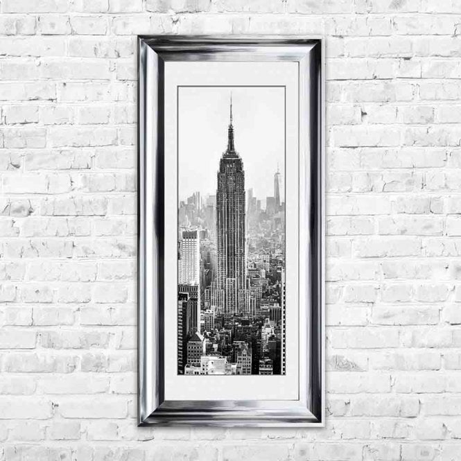 EMPIRE STATE BUILDING WHITE MOUNT FRAMED WALL ART