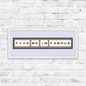 F##K Me Im Famous Champagne Glitter Framed Playing Cards