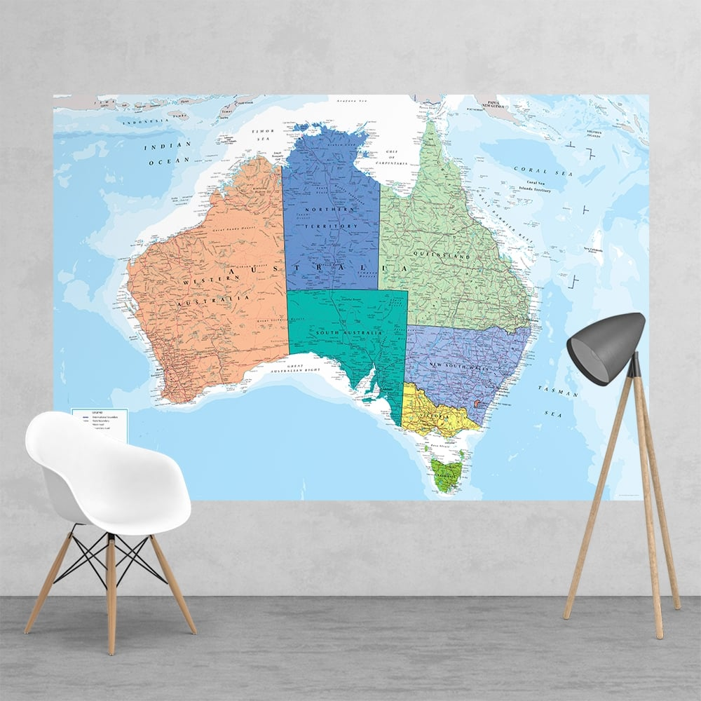 Australia Wall Map.Feature Wall Map Of Australia Wallpaper Mural 158cm X 232cm