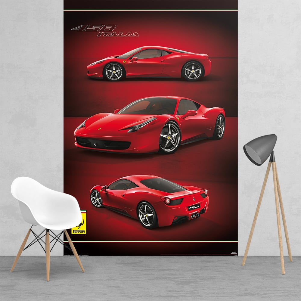 Ferrari racing car feature wall wallpaper mural 2 piece for Car wallpaper mural
