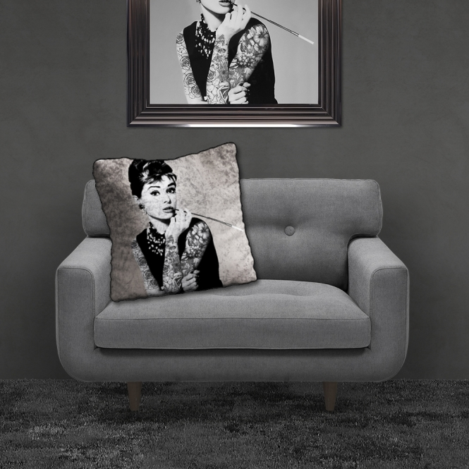 SHH Interiors Filled Crushed Velvet Cushion AUDREY TATTOOS | 55cmx55cm