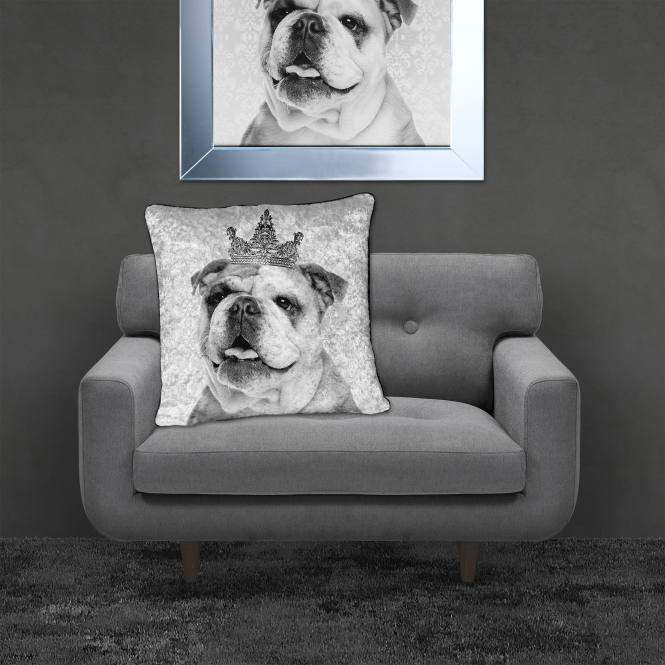 SHH Interiors Filled Crushed Velvet Cushion BRITISH BULLDOG | 55cmx55cm