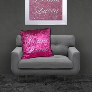 Filled Crushed Velvet Cushion | Drama Queen – Pink Background Silver Writing | 55cmx55cm
