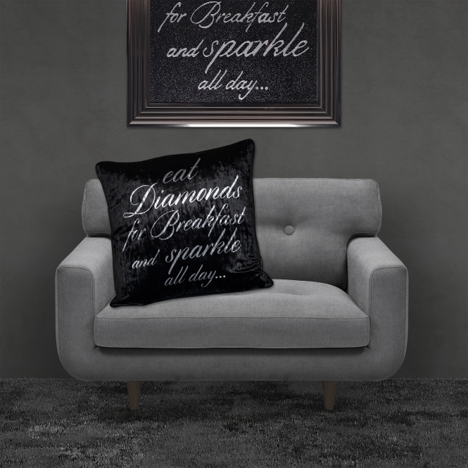 SHH Interiors Filled Crushed Velvet Cushion EAT DIAMONDS FOR BREAKFAST Black Background Silver Writing 55cmx55cm