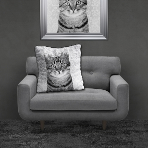 Filled Crushed Velvet Cushion TABBY CAT | 55cmx55cm