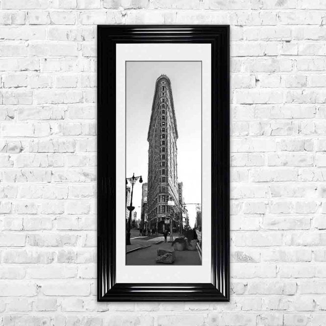 FLAT IRON BUILDING WHITE MOUNT FRAMED WALL ART