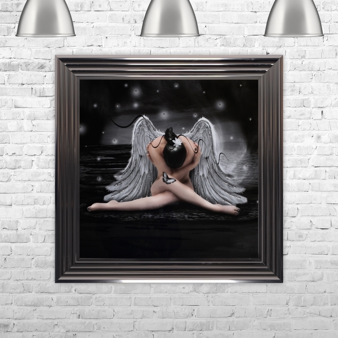 SHH Interiors Framed Angel Hand Made with Liquid Glass and Swarovski Crystals 75 x 75 cm