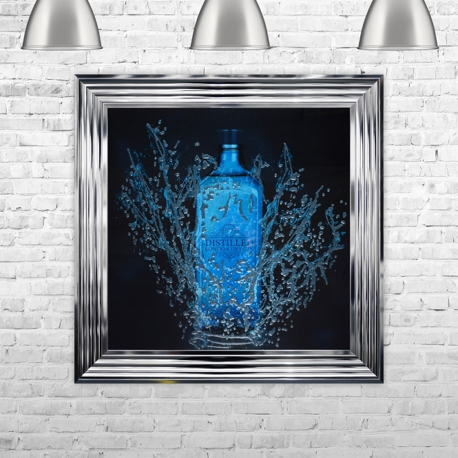 SHH Interiors Framed Gin Hand Made with Liquid Art and Glitter 75 x 75 cm