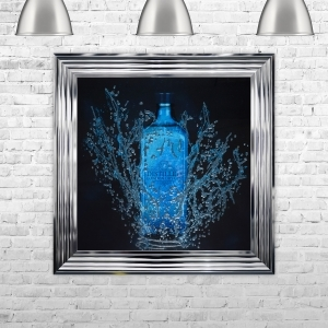 Framed Gin Hand Made with Liquid Art and Glitter 75 x 75 cm