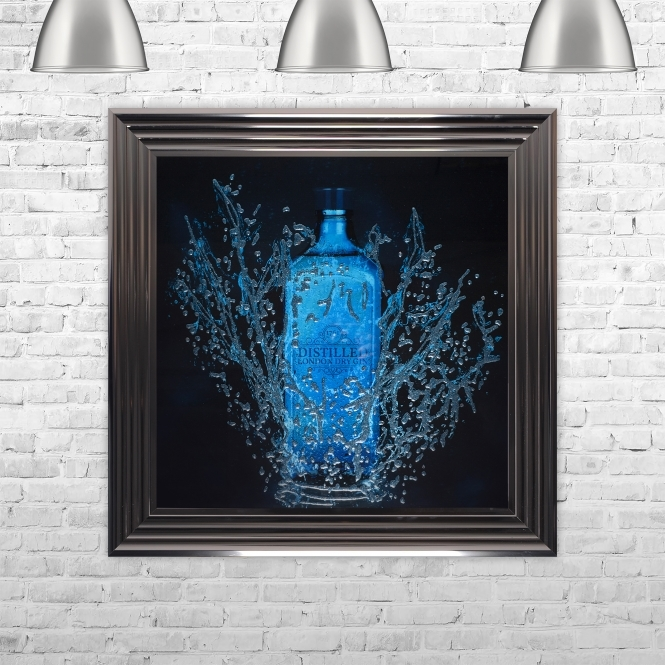 SHH Interiors Framed Gin Hand Made with Liquid Art and Glitter 75 x 75 cm Summer Sale