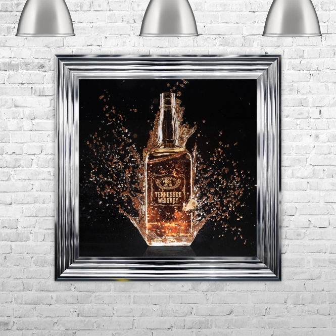 SHH Interiors Framed Tennesee Whisky Bottle Hand Made with Liquid Art and Glitter 75 x 75 cm