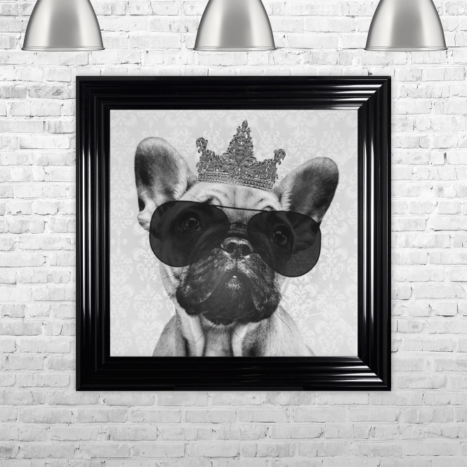 SHH Interiors French Bulldog with Crown Hand Made with Liquid Glass and Swarovski Crystals 75 x 75 cm