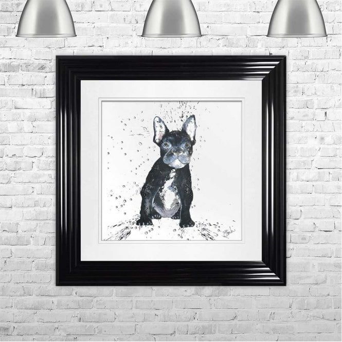 FRENCHIE - HAND PAINTED WITH PHEASANT FEATHERS FRAMED WALL ART
