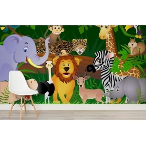FTD 1307 CHILDRENS JUNGLE ANIMAL MURAL Dimensions: 360 x 253 cm