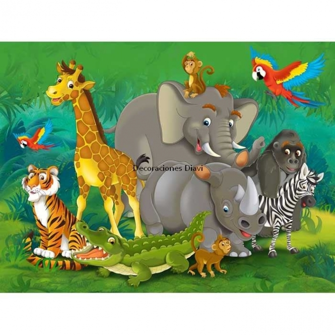 FTD 2420 CHILDRENS JUNGLE ANIMAL MURAL Dimensions: 360 x 253 cm