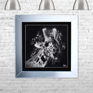 GIRAFFE 1 Framed Liquid Artwork and Swarovski Crystals | 75cm x 75cm
