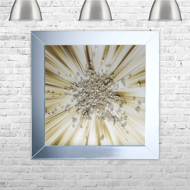 SHH Interiors Gold Blast Framed Liquid Artwork with crushed glass and Swarovski Crystals