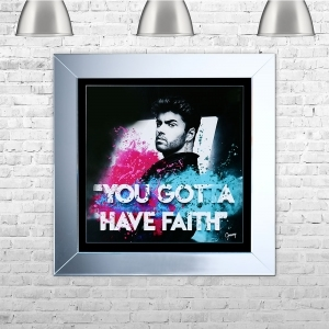 Faith' George Michael Framed Liquid Artwork and Swarovski Crystals