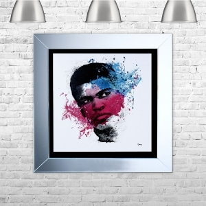 Muhammad Ali Framed Liquid Artwork and Swarovski Crystals
