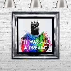 "Notorious BIG "" All A Dream "" Glitter Art Framed Liquid Artwork and Swarovski Crystals"
