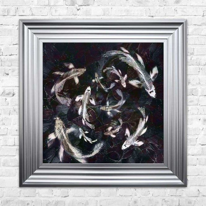 GREY KOI POOL FRAMED WALL ART