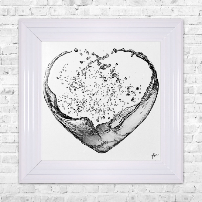 SHH Interiors Heart Splash Grey Print Framed Liquid Artwork and Swarovski Crystals
