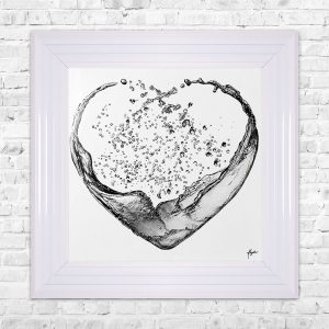 Heart Splash Grey Print Framed Liquid Artwork and Swarovski Crystals