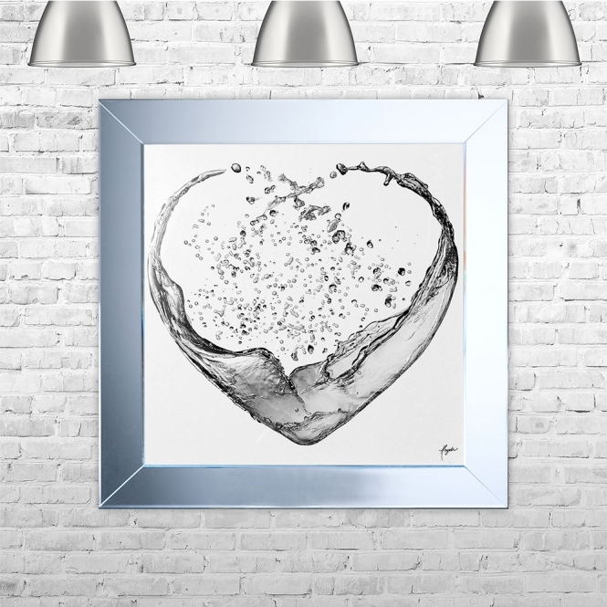 SHH Interiors Heartsplash Silver White Framed Liquid Artwork with crushed glass and Swarovski Crystals