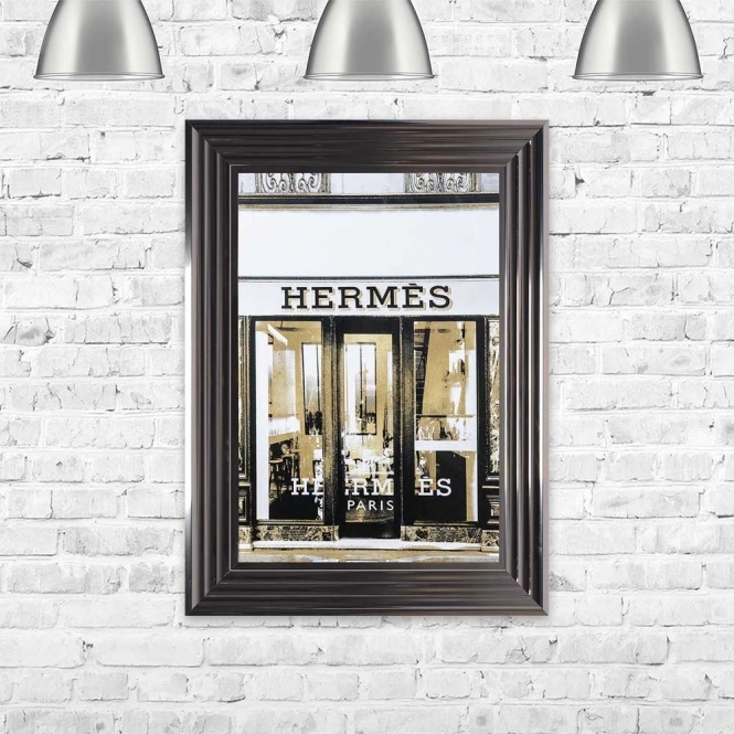 HERMES GOLD SHOP FRONT FRAMED WALL ART