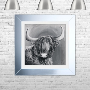 HIGHLAND COW G Framed Liquid Artwork and Swarovski Crystals | 75cm x 75cm
