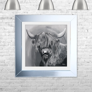 HIGHLAND TONGUE G Framed Liquid Artwork and Swarovski Crystals | 75cm x 75cm