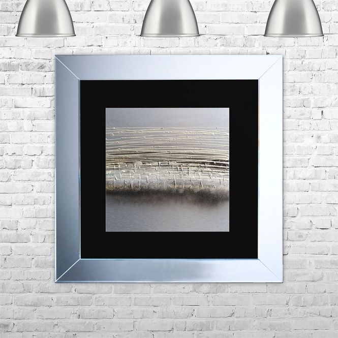 SHH Interiors HORIZON-BLK-MGLD Framed Liquid Artwork and Swarovski Crystals | 75cm x 75cm