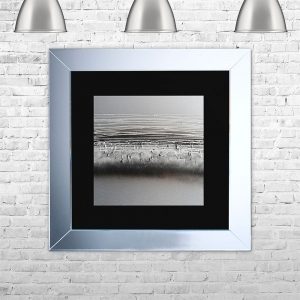 HORIZON-BLK-MSIL Framed Liquid Artwork and Swarovski Crystals | 75cm x 75cm