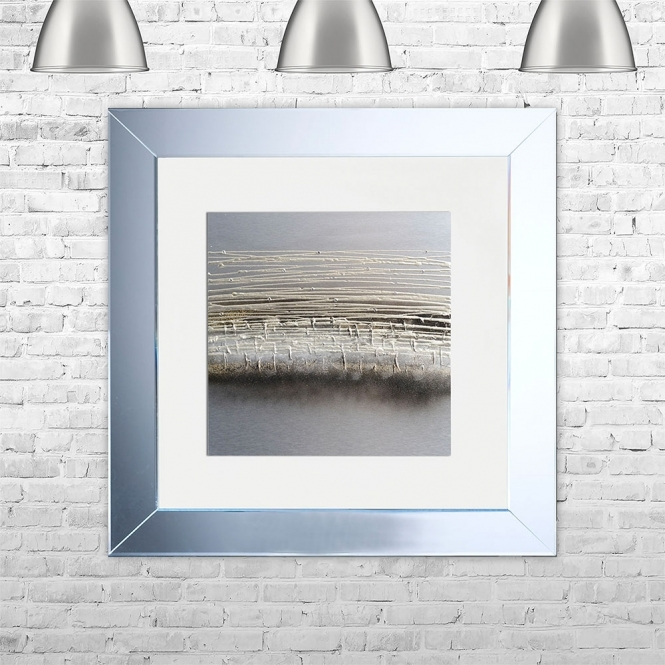 SHH Interiors HORIZON-WHT-MGLD Framed Liquid Artwork and Swarovski Crystals | 75cm x 75cm