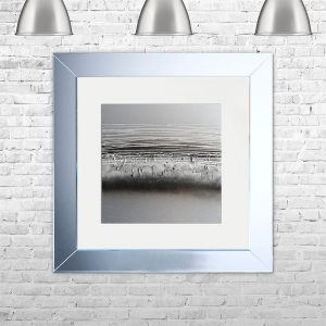 HORIZON-WHT-MSIL Framed Liquid Artwork and Swarovski Crystals | 75cm x 75cm