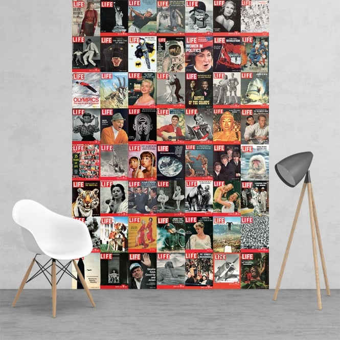 1Wall Iconic Life Magazine Covers Beatles Man on the moon Feature Wall Wallpaper Mural | 158cm x 232cm