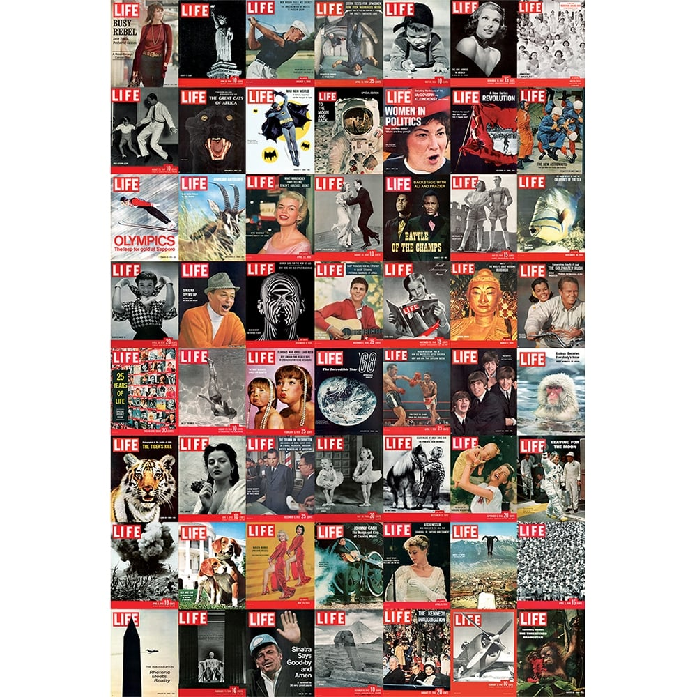 Iconic Life Magazine Covers Beatles Man On The Moon Feature Wall Wallpaper Mural 158cm X 232cm
