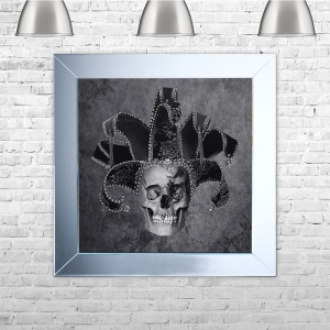 Jester Skull Framed Liquid Artwork and Swarovski Crystals