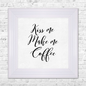 KISS ME MAKE ME COFFEE Print Framed Liquid Artwork and Swarovski Crystals