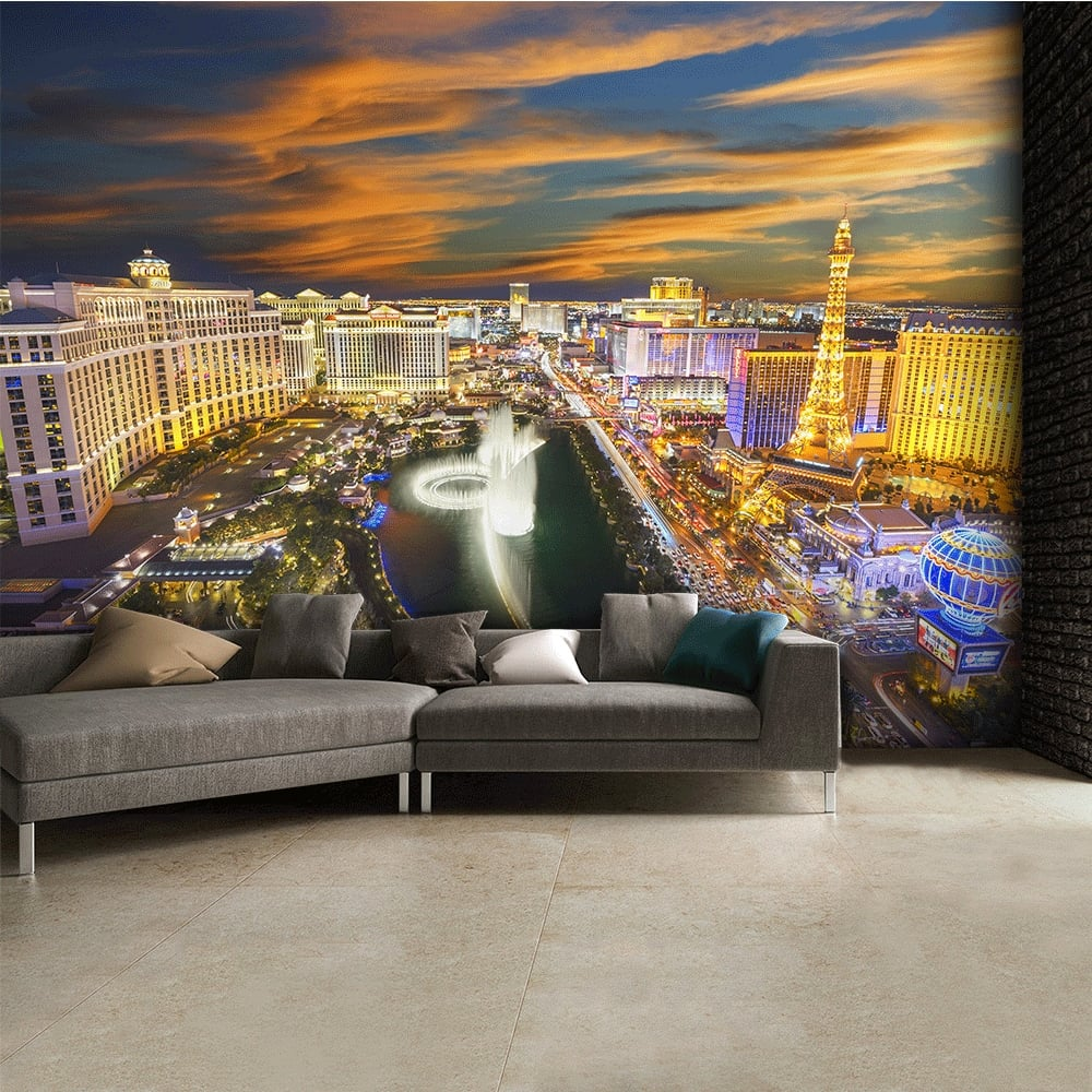Las vegas at night skyline wall mural 315cm x 232cm for Cityscape murals photo wall mural