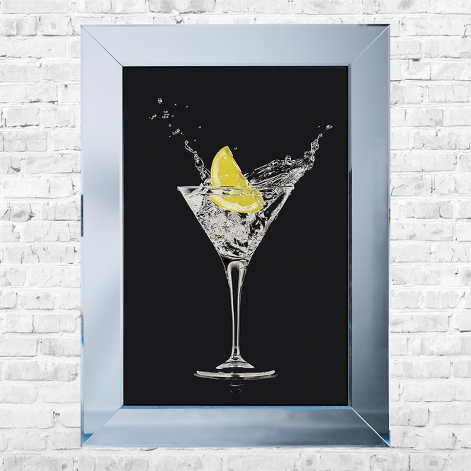 SHH Interiors Lemon Cocktail Black Background Framed Liquid Artwork and Swarovski Crystals