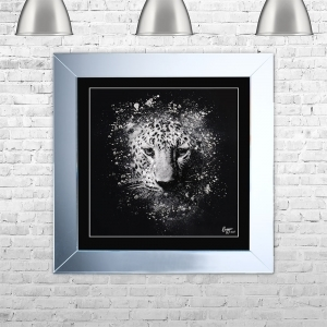 LEOPARD Framed Liquid Artwork and Swarovski Crystals | 75cm x 75cm