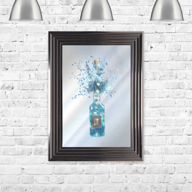 LIGHT UP GIN BOTTLE MIRROR FRAMED WALL ART