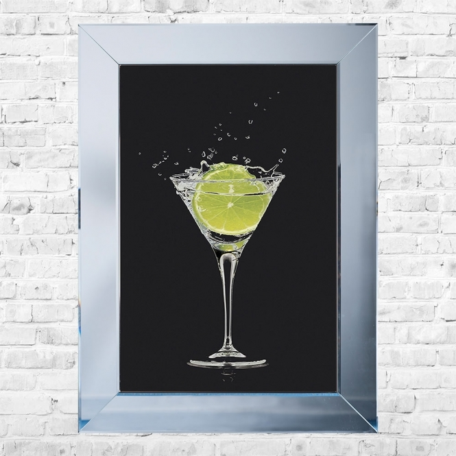 SHH Interiors Lime Cocktail Black Background Framed Liquid Artwork and Swarovski Crystals
