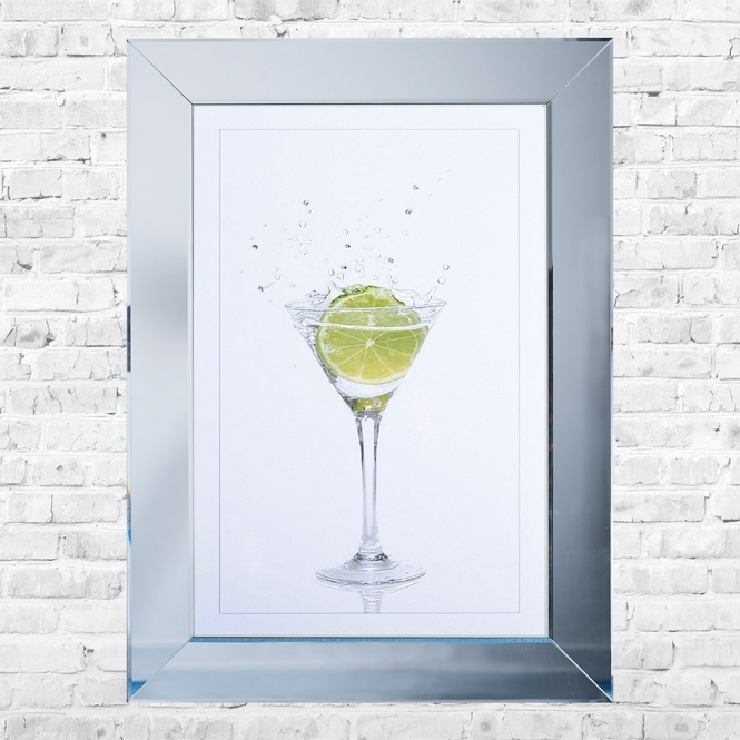 SHH Interiors Lime Cocktail White Background Framed Liquid Artwork and Swarovski Crystals